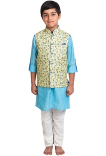 linen-kurta-with-printed-nehru-jacket-and-pants