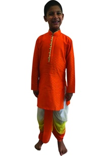 foil-printed-kurta-with-shaded-dhoti