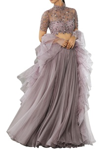 embellished-lehenga-with-ruffle-dupatta-in-nude-color