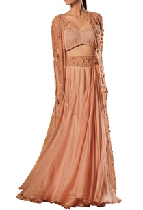 ruched-top-with-embellished-jacket-lehenga