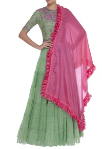 tiered-lehenga-with-floral-blouse-dupatta