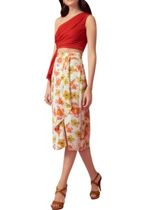 floral-printed-draped-skirt