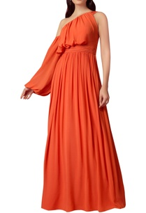 draped-gown-with-exaggerated-sleeve