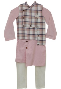 checkered-nehru-jacket-with-kurta-churidar