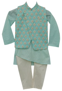 cotton-kurta-with-nehru-jacket-churidar