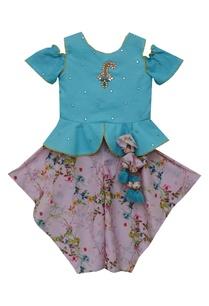 peplum-top-with-printed-dhoti-pants