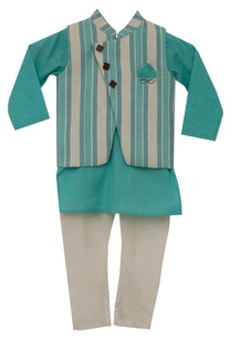 stripe-print-nehru-jacket-with-kurta-churidar