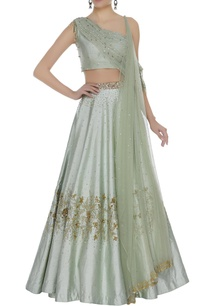 sequin-lehenga-set-with-one-shoulder-blouse-attached-drape