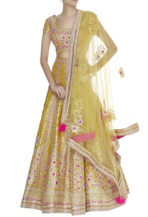 gota-thread-embroidered-jacquard-lehenga-set
