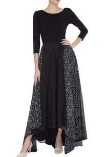 embroidered-panel-asymmetric-skirt