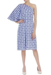 one-shoulder-block-print-dress
