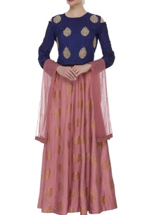 embroidered-cutout-blouse-with-lehenga-dupatta