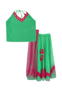 halter-blouse-with-frilly-skirt-dupatta