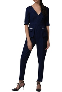 contrast-piping-blazer-playsuit