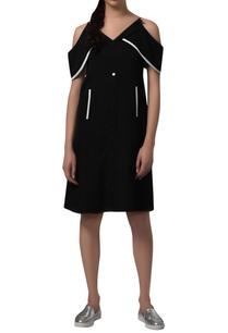 trapeze-cold-shoulder-dress