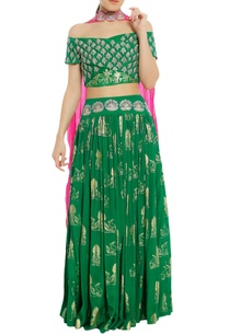 embroidered-lehenga-with-off-shoulder-blouse-dupatta