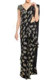 stamp-print-sari-with-unstitched-blouse