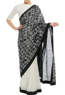 dry-pineapple-stamp-sari-with-polka-dot-blouse-piece
