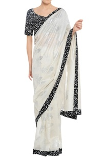 polka-dot-border-sari-with-blouse