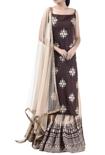 embroidered-block-print-kurta-lehenga-set