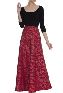 flared-brocade-woven-skirt