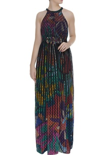 printed-elasticised-waist-long-dress