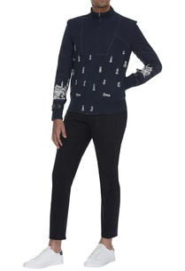 chess-element-print-bomber-jacket-with-stripe-detail