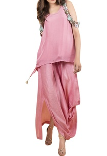 cold-shoulder-top-with-draped-skirt
