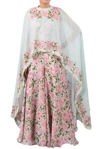 floral-print-jumpsuit-with-embroidered-cape