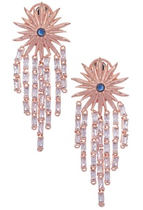 floral-earrings-with-blue-stone-zircon