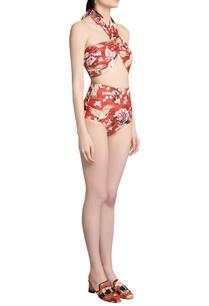 printed-halter-high-waisted-bikini-set