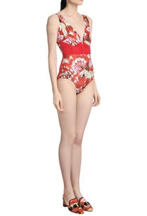 printed-ruched-swimsuit