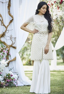 embroidered-short-kurta-with-cape-sharara-pants