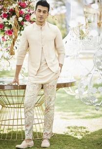 floral-print-pants-with-kurta-bundi