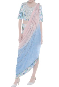 aztec-print-embroidered-crop-top-with-draped-skirt-dupatta