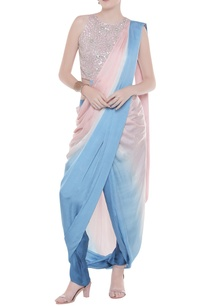 shaded-sari-with-embroidered-blouse-draped-pants