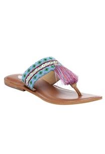 aztec-embroidered-tassel-slip-on-sandals