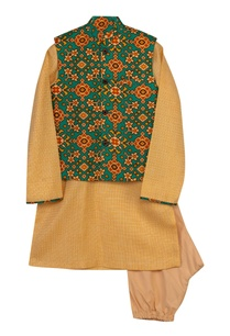 patola-print-jacket-with-kurta-churidaar