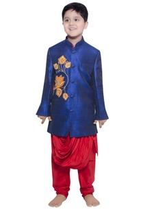 lotus-embroidered-jacket-with-draped-kurta-churidar
