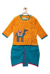 camel-embroidered-kurta-with-dhoti-pants