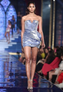 two-toned-metallic-tube-dress-with-drapes
