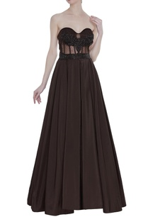 strapless-corset-pleated-gown