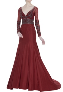 plunging-neckline-embroidered-gown
