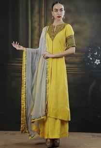 yellow-grey-embroidered-kurta-set