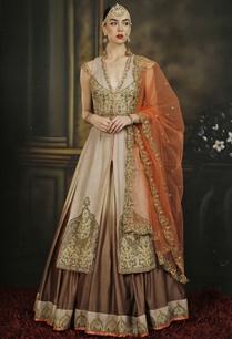 orange-brown-embroidered-jacket-lehenga