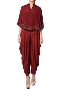 maroon-embroidered-pant-set