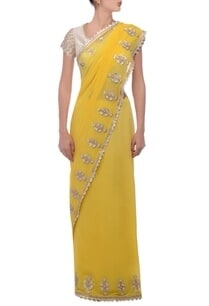 yellow-floral-embellished-sari