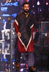 colour-blocked-silk-kurta-set