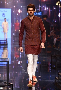 embroidered-wine-kurta-jacket-with-vanilla-pants