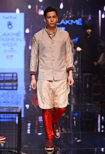 champagne-bandi-with-beige-red-embroidered-kurta-set